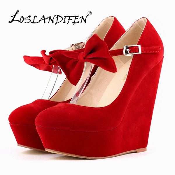 LOSLANDIFEN Platform Women's Pumps Sexy High Heels Bow Wedges Shoes for Woman Flock Wedding Party Shoes Autumn Summer 391-3VE