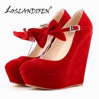 LOSLANDIFEN Platform Women's Pumps Sexy High Heels Bow Wedges Shoes for Woman Flock Wedding Party Shoes Autumn Summer 391 3VE