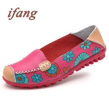ifang 2017 summer women genuine leather ballet flats casual shoes women pointed toe flats slip on loafers ballerina flats
