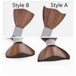 RBOCOTT Handmade Wooden Bow Tie Handkerchief Cufflinks Set Men's 3D Bow Tie Wood Pocket Square with Box Fashion For Men Wedding 4