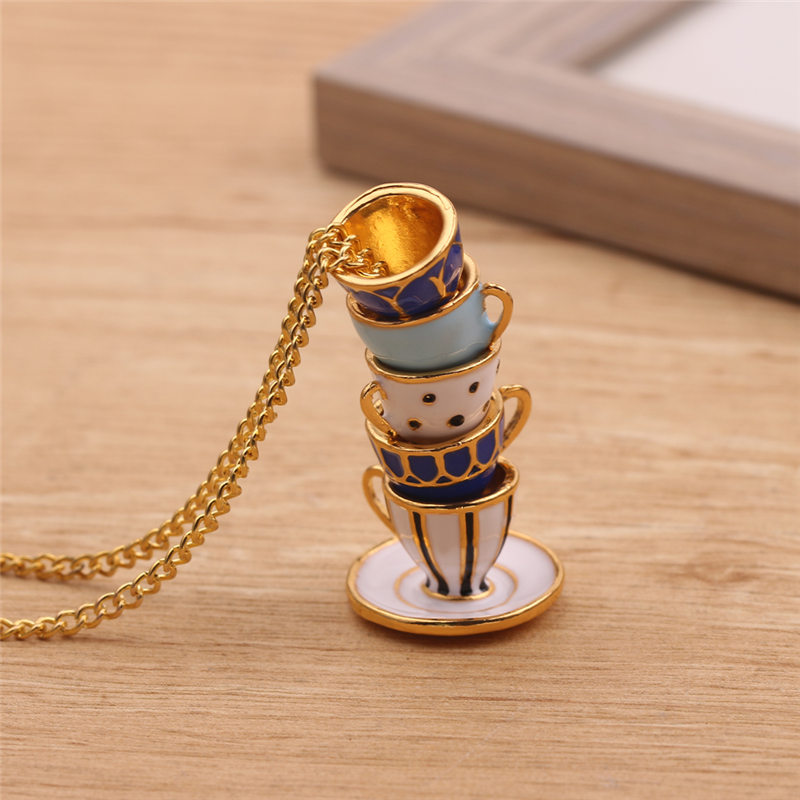 Bead String Type Fashion Stack Cups Pendant Necklace Cute Stereoscopic Creative Jewelry For Women Charm Collar Gift Accessories|Pendant Necklaces|   - AliExpress