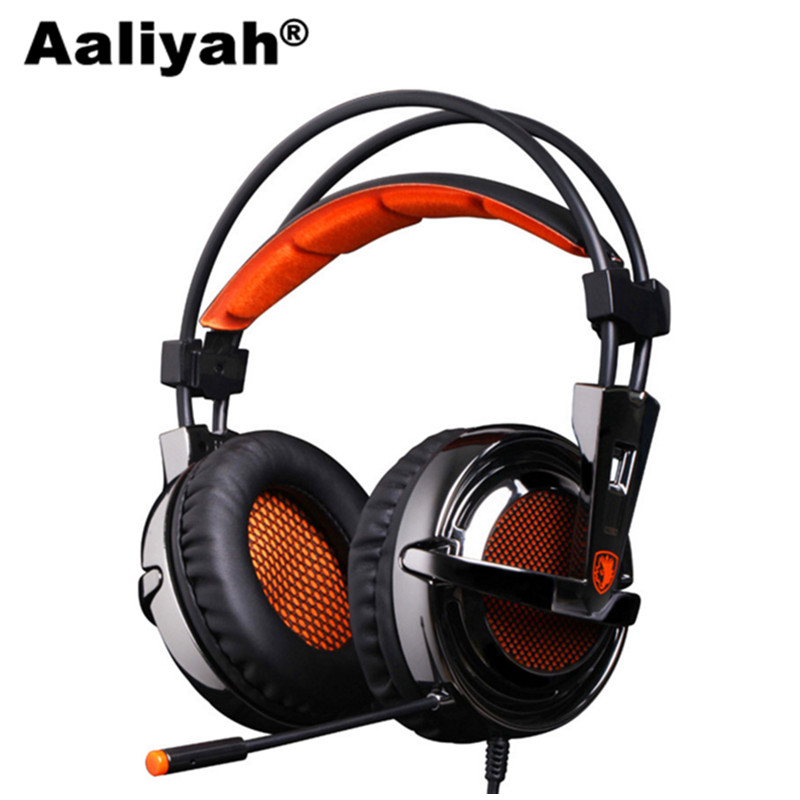 [Aaliyah]  A6 USB Gaming Headphones Professional Over-Ear Game Headset 7.1 Surround Sound Earphone Wired Mic for Games panasonic rp hxs400m a sound rush plus on ear headphones