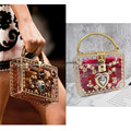Luxury Designer Transparent Black Royal Baroque Rhinestone Hand bag Runway Lady bag Purse Celebrity Love