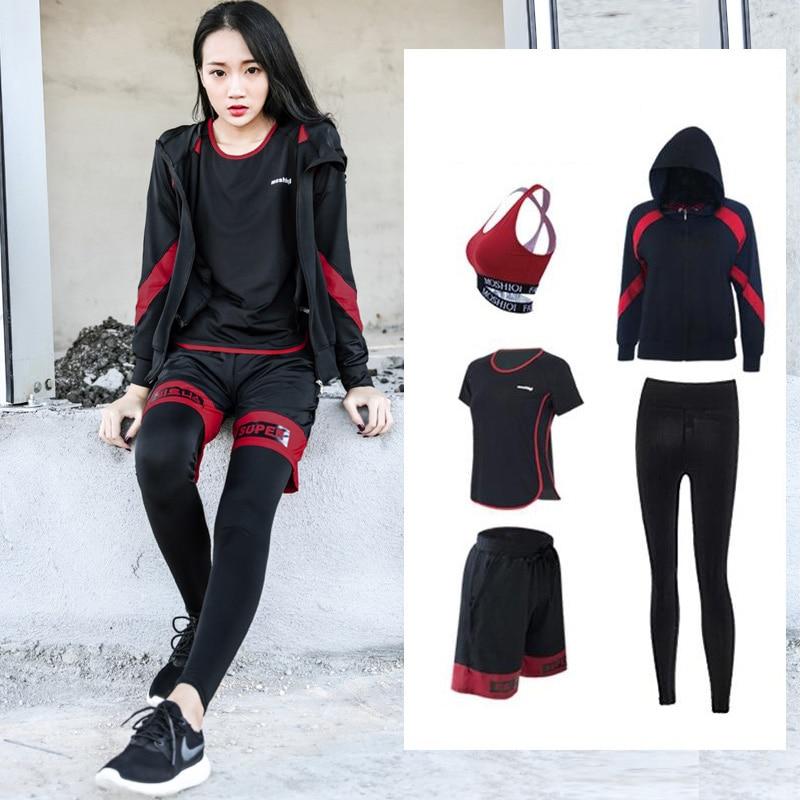 Yoga Set Large Size Fitness Elastic Quality Women Sport Suit Zipper Jacket Shirt Bra Pants Short 5 Pcs Breathable Gym Suits