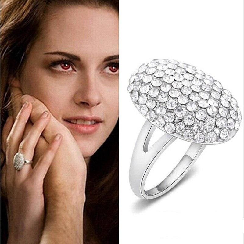 Crepúsculo bella anel de casamento completo cz liga de zinco cristal anel de noivado feminino atacado