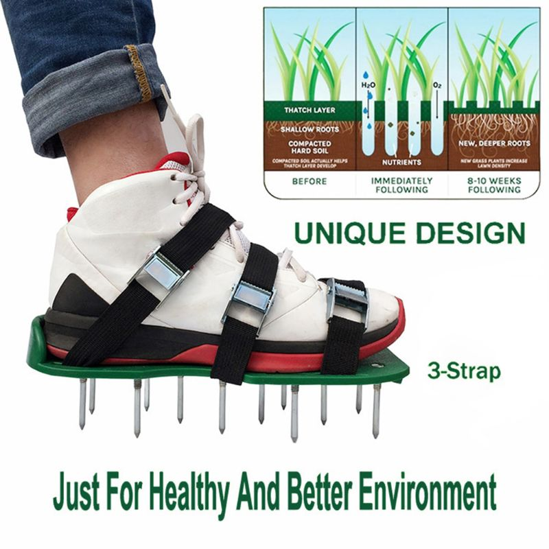 A Pair Lawn Aerator Shoes Sandals Grass Spikes Nail Cultivator Yard Garden Tool Free Ship