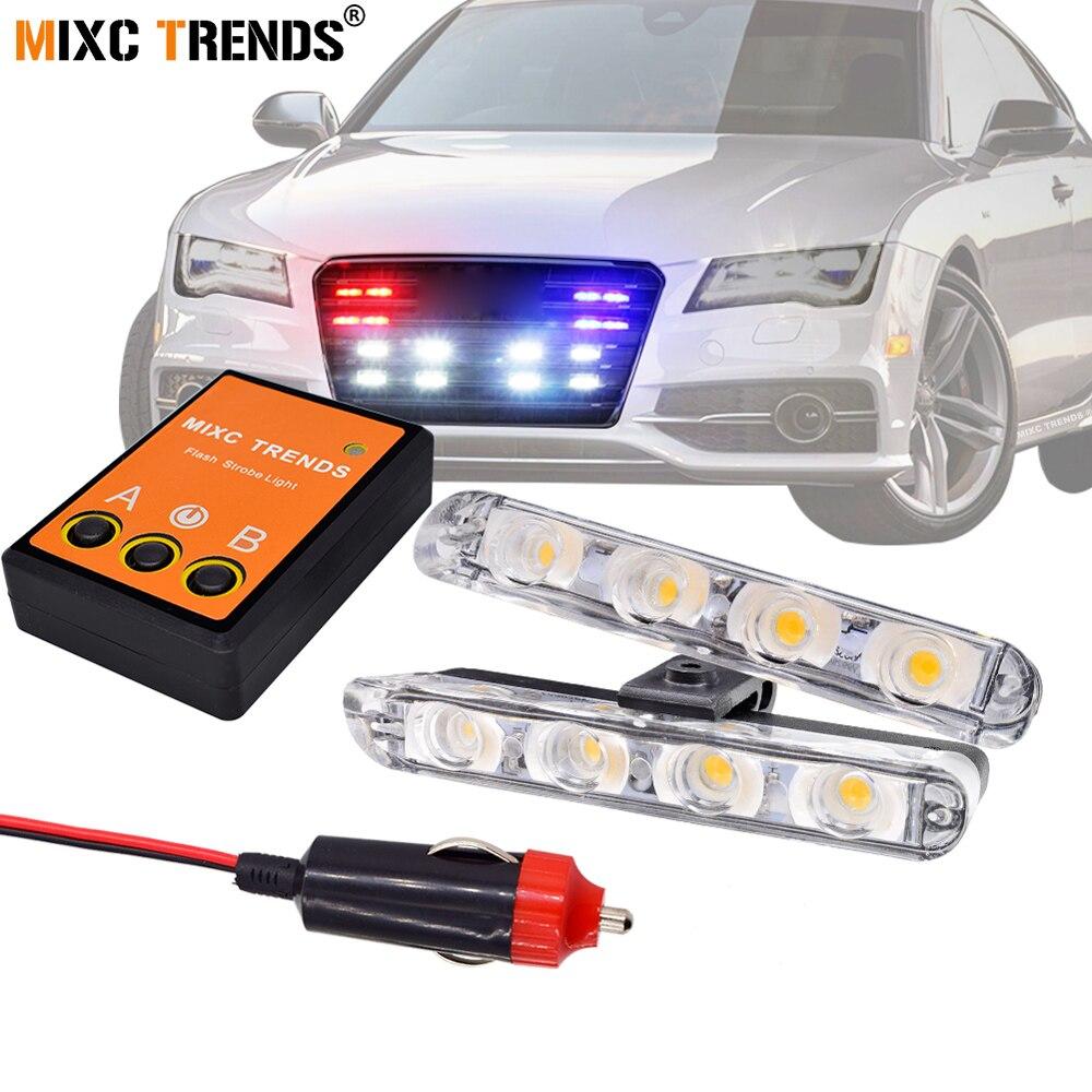Super Bright Car Strobe Flashing Police Emergency light 12V LED DRL Fog Lights for Motorcycle Ambulance Grill Warning Flasher