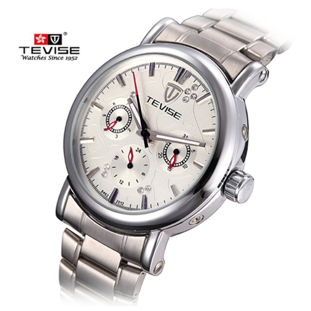 Luxury Mens Watches Top Brand TEVISE Mechanical Watch Six-pin Multi Calendar Waterproof Men Watch Clock Steel Wristwatch for Men