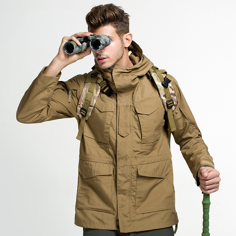 Men Water Resistant Windproof Jacket Military Tactical Jacket Outdoor Hiking Climbing Runing Hoodie Sportswear Soft Shell Jacket