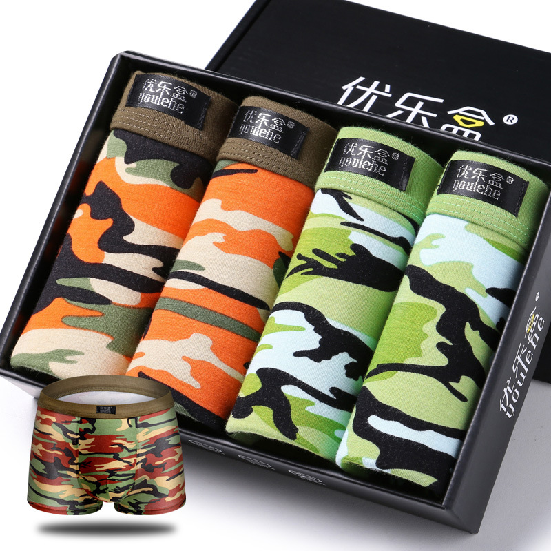 boxers men sexy underwear mens flower boxer shorts camouflage gay homme cotton spandex bamboo fiber L XX XL 4ps/lot gift boxes