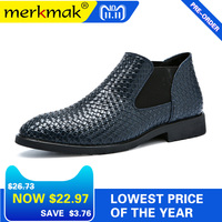 Mermak Fashion Men's Chelsea Boots Male Ankle Shoes Luxury Brand Braid Leather Men Boots Dress Shoes Party Wedding Casual Flats