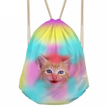 Cute 3D Animal Colorful Rose Cat Pussy Print Girls Boys Drawstrings Bags Casual Children Backpacks Softback BookbagsSumka
