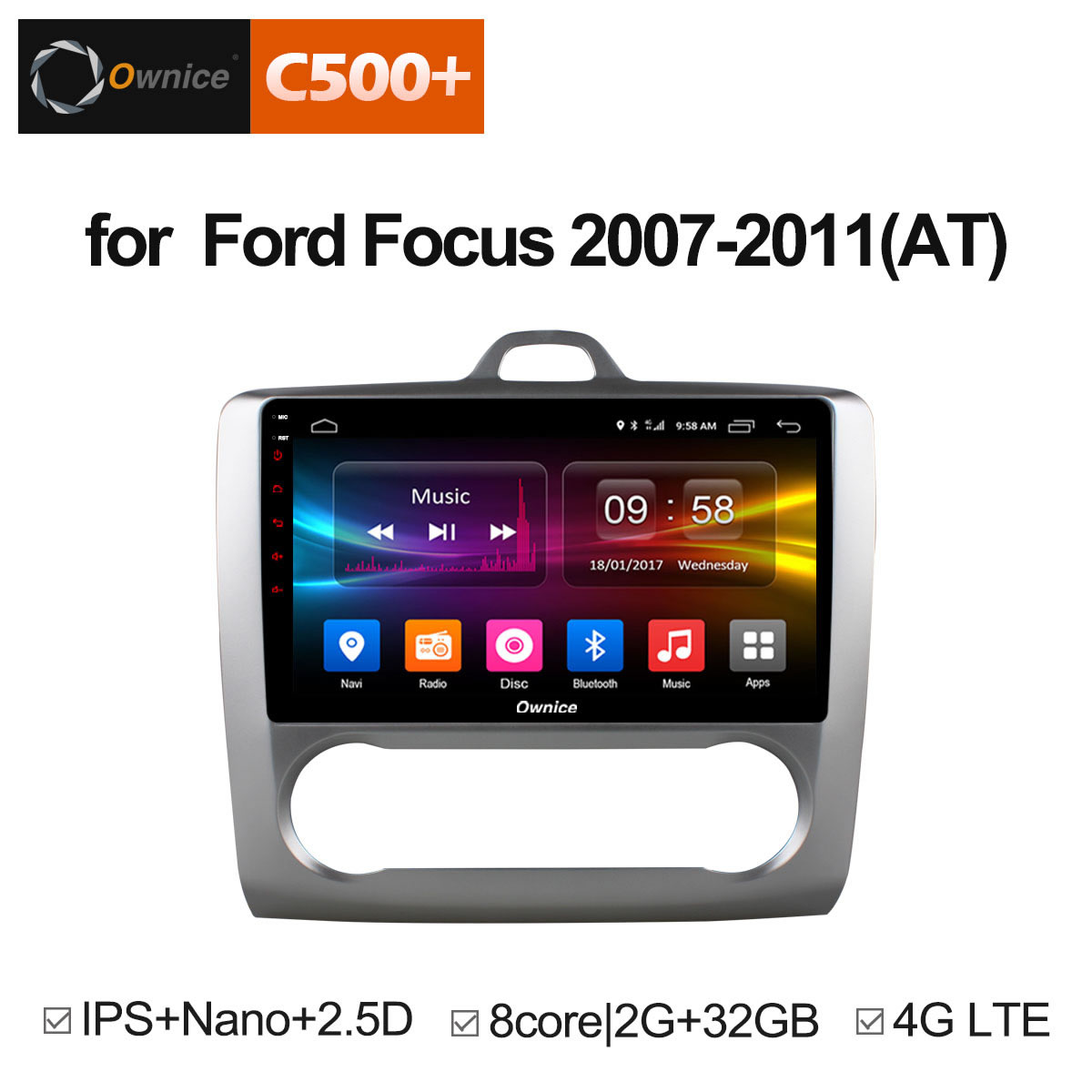 Ownice C500+ G10 Octa Core Android 8.1 Car Radio DVD player GPS Navi 2G/32G Support 4G For Ford Focus 2007 2008 2009 2010 2011 10 1 ownice c500 g10 octa 8 core android 8 1 car dvd gps player for toyota tundra 2007 2013 sequoia 2008 2018 stereo radio
