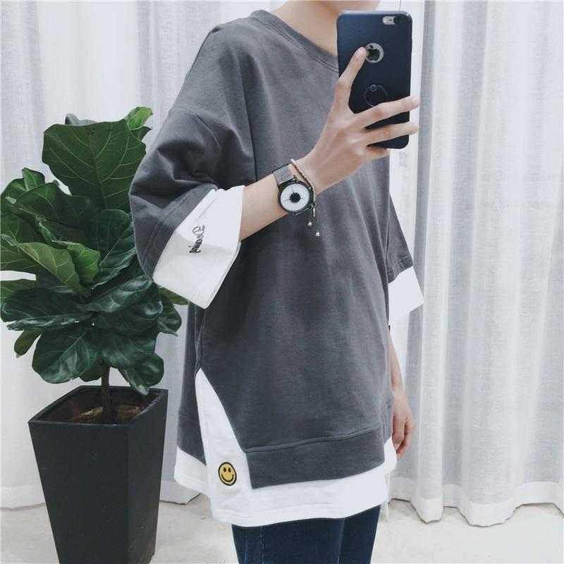 2019 Extend Hip Hop Street T-shirt Wholesale Fashion Brand T Shirts Men Summer Long Sleeve Oversize
