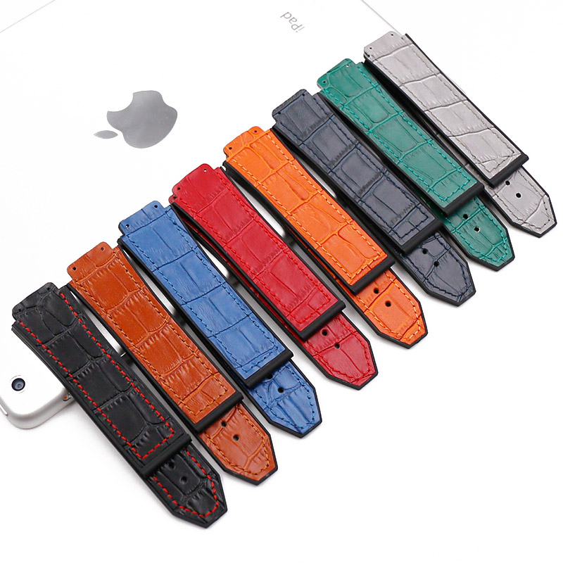 Leather Strap Men's Watch Accessories 19mmx25mm Rubber Strap Women Suitable For HUBLOT Series Outdoor Sports Waterproof Bracelet