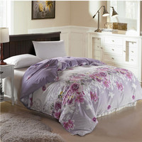 Venda Hot New Design Roxo Flores Colcha 1 pc Super Macio algodão Capa de Edredão para Cama Casa Gêmeo Completa Queen Size Livre grátis