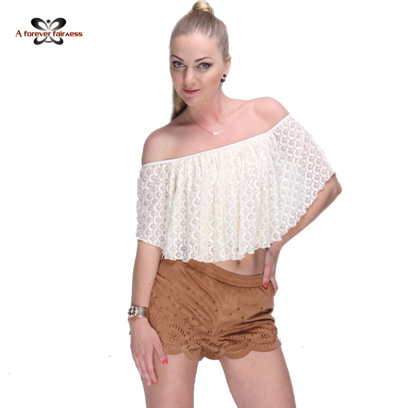 New 2016 Women Crop Tops Street Style Lace Blouse Shirt Lace Off Shoulder Casual Short Shirt