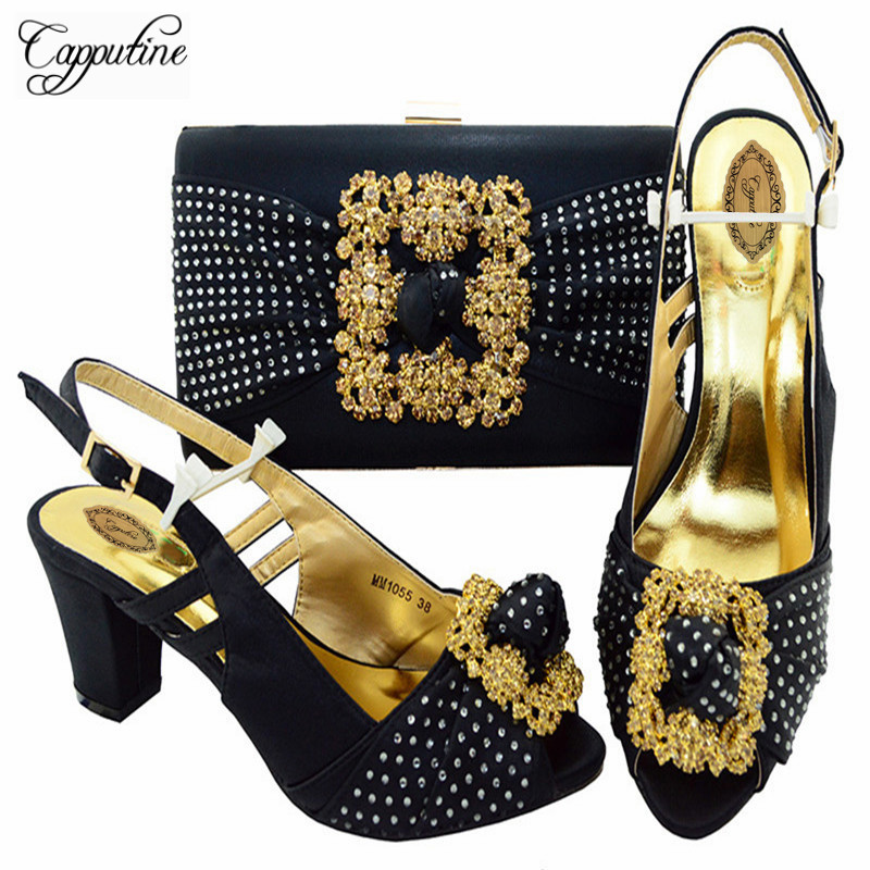 Capputine Summer Fashion Woman Shoes And Bags Italian Rhinestones Middle Heels Shoes And Bags Set For Party 7 Color Stock M10554 capputine italian shoes and matching bag set fashion summer style ladies middle heels shoes and bags set for party wine ym0031