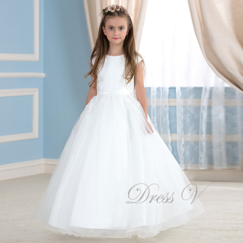 White Ball Gown Flower Girl Dresses 35