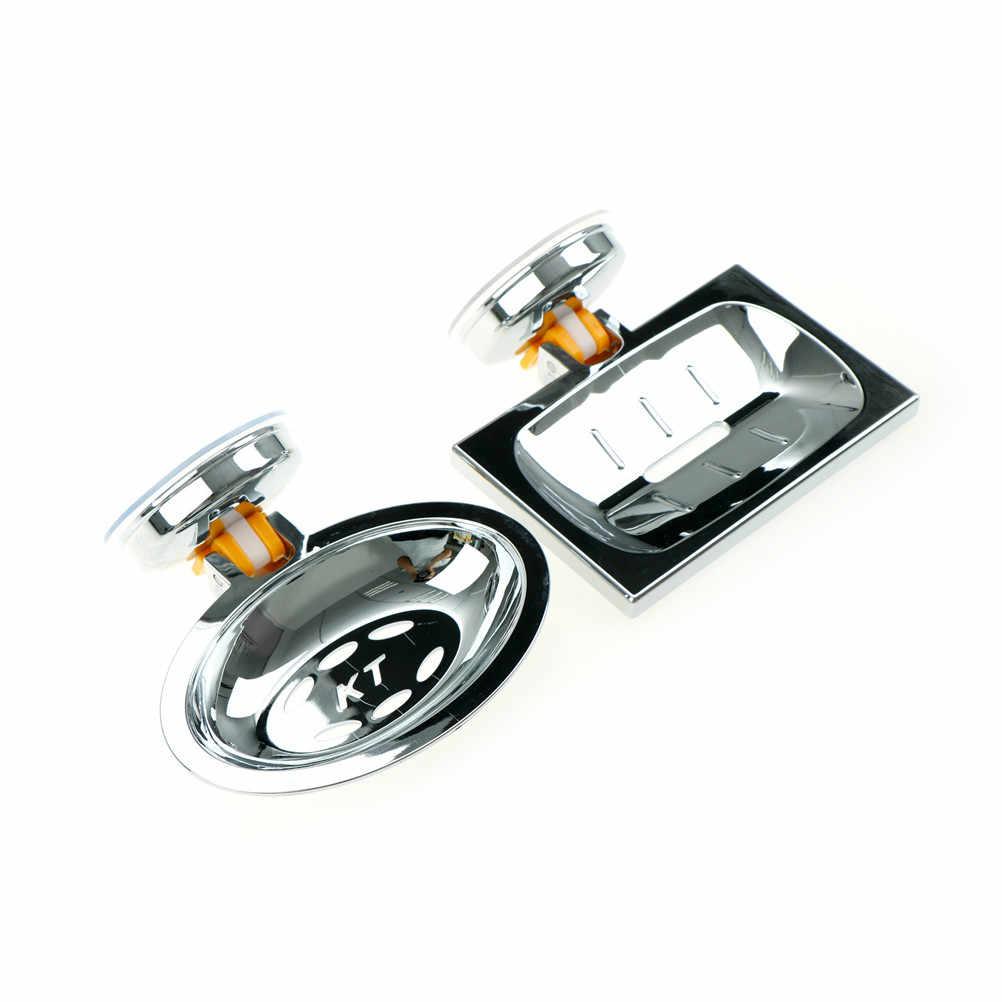 Ze stali nierdzewnej silne Box Chrome mydelniczka brodzik akcesoria łazienkowe ssania prysznic mydelniczka łazienka mydło
