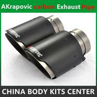 One PCS Carbon Fiber Coated Stainless Steel Universal Car Exhaust Pipe Tip Tailtip Akrapovic Car Exhaust
