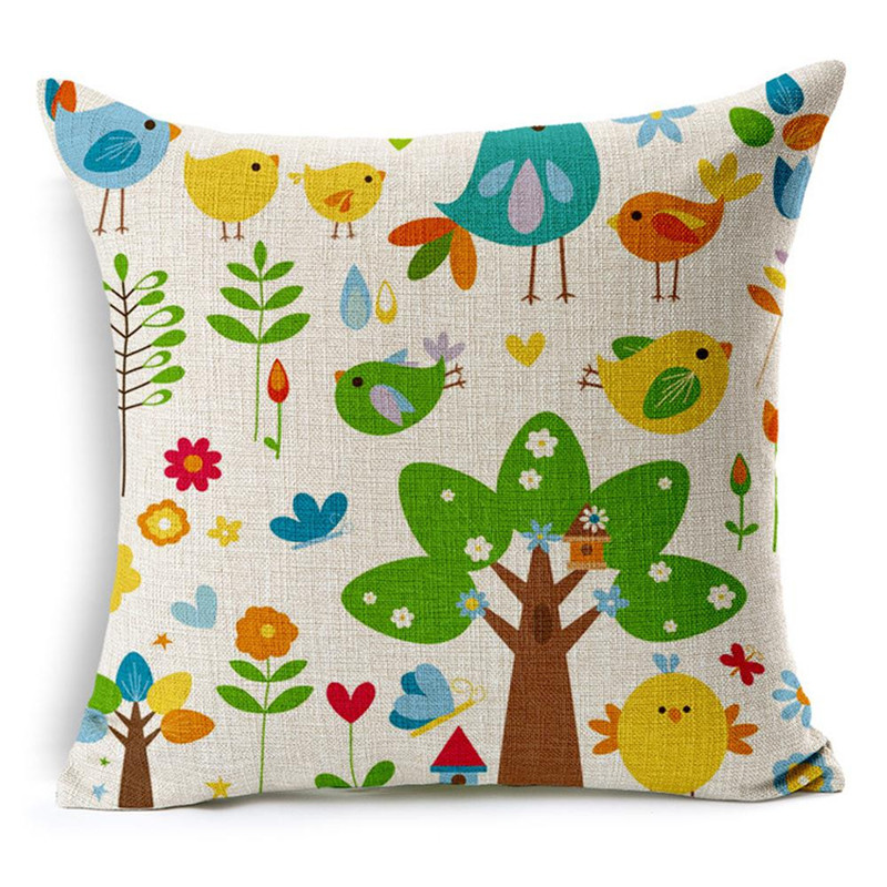 1pc top quality cartton pattern pillowcase slip birds tree flower vintage waist pillowslip cover case retro style on sale