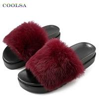 Coolsa 새로운 여성 긴 봉제 슬리퍼 무성한 토끼 머리 모피 슬라이드 두꺼운 바닥 샌들 홈 플립 플롭 여성 캐주얼 파티 신발