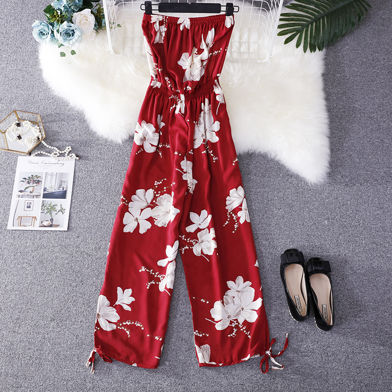 2019 Summer Floral Print Strapless Soft Women Rompers High Waist Side Slit Stretchy Cuff Women Casual Beach Jumpsuits 13