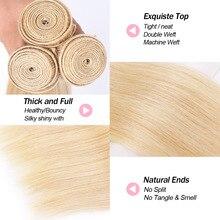 613 Blonde Human Straight Hair Bundles 1 PCS Honey Blonde Bundles Peruvian Non-Remy Hair Weave 100% Human Hair Weave