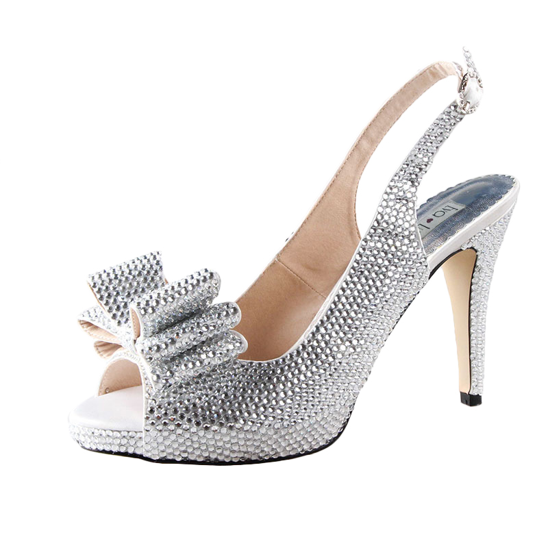 CHS725 Custom Made Purple Rhinestones Crystal Slingbacks Bow Women Shoes  High Heels Dress Pumps Bridal Wedding Shoes Big Size-in Women s Pumps from  Shoes on ... af0d95c07ddc