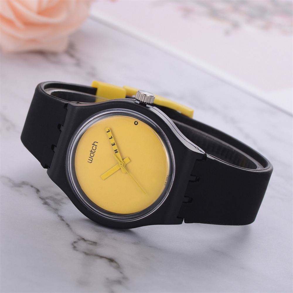 Silicon Strap Analog Women Watches Quartz Wrist Watch Sport Bayan Kol Female Solid Color Cartoon Black And Yellow New Clock B40