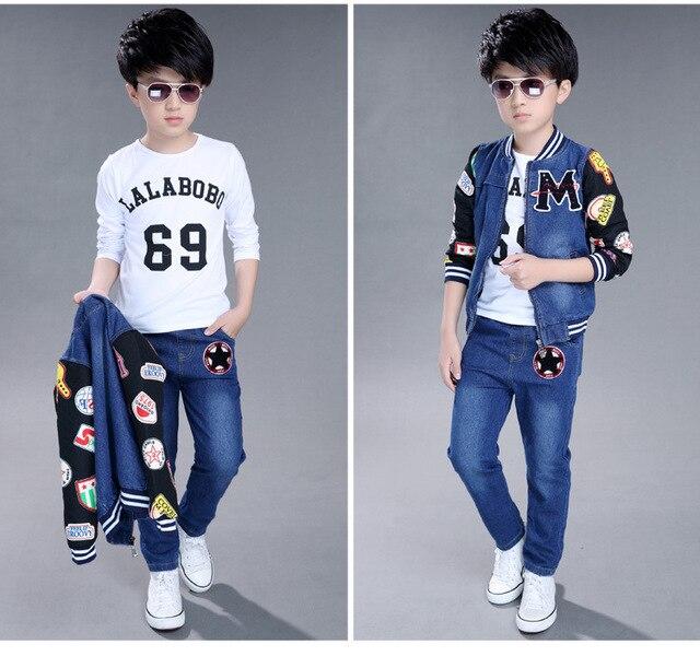 2pc suit 2016 7 8 9 11 12 years kid autumn boy winter set kids clothing sets tracksuit Children clothes Set boys Jacket + jeans
