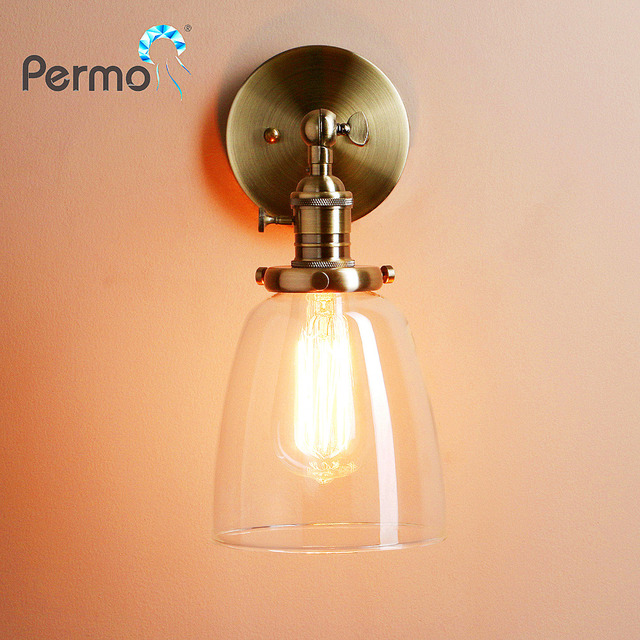 PERMO HOT Retro Antique Brass Glass Bronze Sconce Wall Light Fixture Modern Vintage Wall Lamp E27 New Year Christmas Decorations