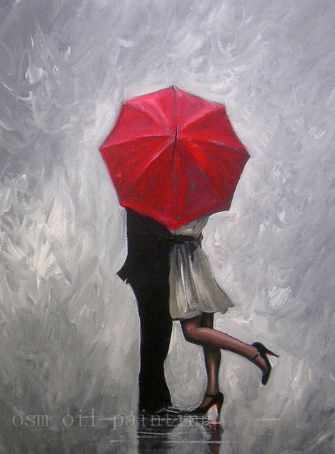 1f087a81d8a Handmade Modern Abstract Wall Decor Fine Art Acrylic Oil Painting Perfect  Love Red Umbrella Hand-painted Artwork Canvas Painting