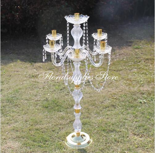 Wedding decoration <font><b>90</b></font> cm height Acrylic 5-arms metal candelabras with crystal pendants candle holder centerpiece party decor image