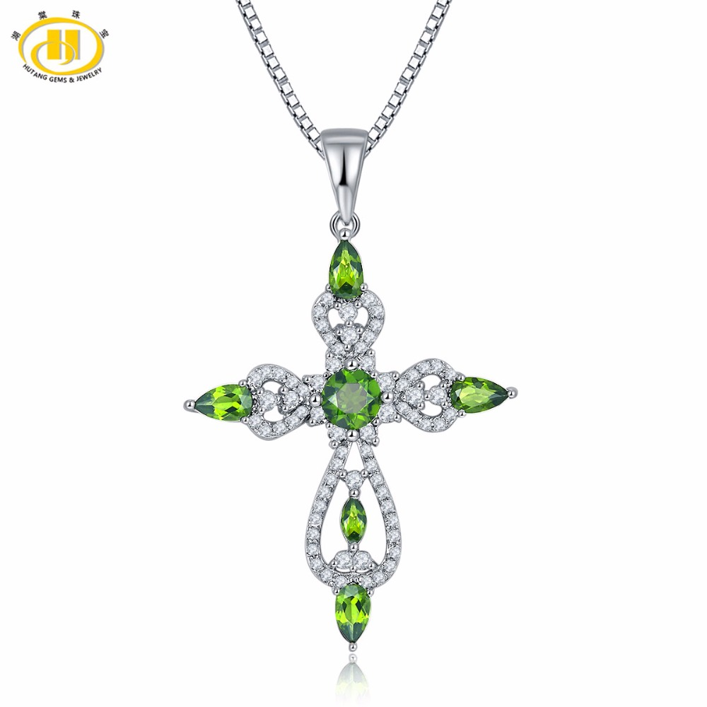 Hutang Natural Gemstone Chrome Diopside & Topaz Solid 925 Sterling Silver Cross Pendant & Necklace Fine Jewelry For Women faux gemstone cross pendant necklace