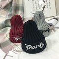 2016 letter new winter women's hat embroidery knitting hat warm wool knitting pure color head cap
