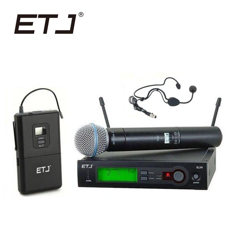 ETJ Brand SLX24/BETA58 58A Professional UHF Wireless Dual Microphone System Handheld Black Headset Microphone