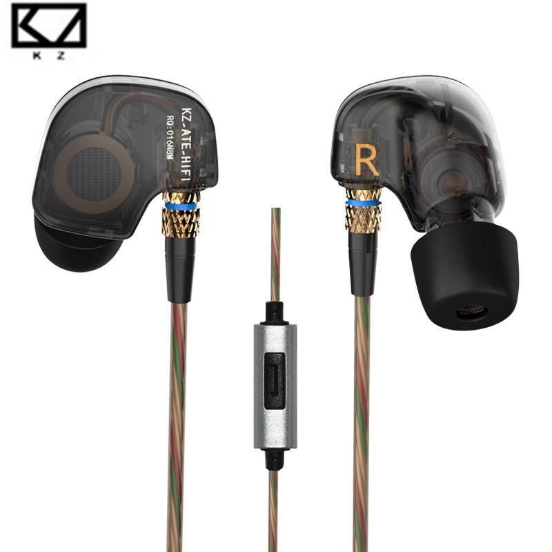 Original KZ ATR Copper Driver HiFi Sport Headsets With Microphone For Music Enthusiasts in ear earphone Pk KZ zs5 earphones