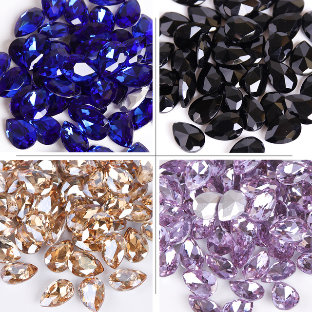 Full Beauty 10pcs Water drop Nail Rhinestones 6x8mm/7x10mm Crystal Glass Stones DIY Manicure Nail Art Decorations CH030