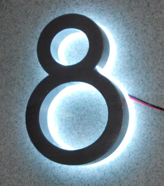 Luxello U0026 Apartment LED Numbers And Company Name Size H150MM(Custom) Number  8 White