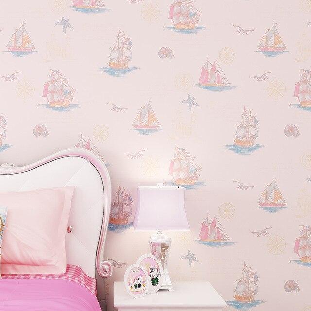 beibehang Green character cartoon sailing children's room non-woven wallpaper boys bedroom full shop princess pink wallpaper