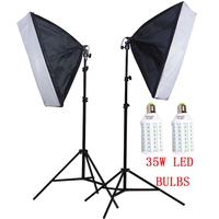 Photo Studio Kit 50*70cm Softbox 100 240V E27 Lamp Holder 2M Light Stand 220V 35W LED Bulbs Camera & Photo Accessories