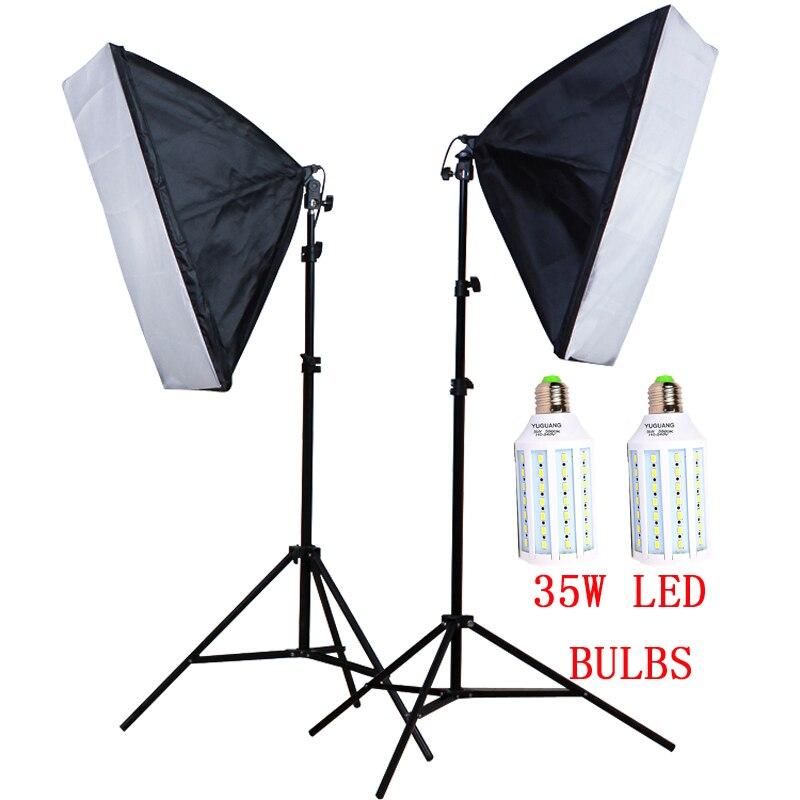 Photo Studio Kit 50*70cm Softbox 100 240V E27 Lamp Holder 2M Light Stand 220V 35W LED Bulbs Camera & Photo Accessories