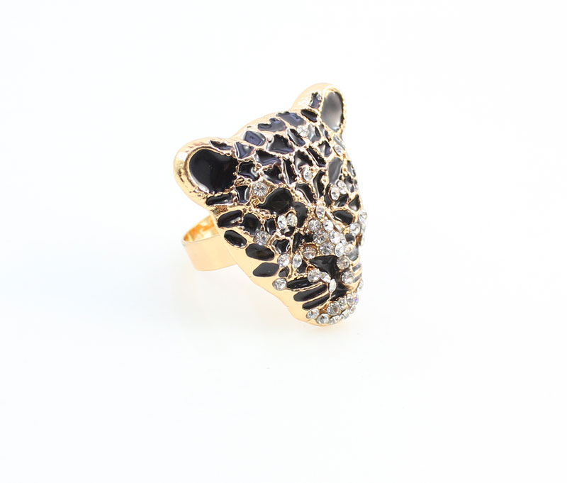 Cool Leopard Head Bracelet Earrings Ring Necklace Set para mujeres - Bisutería - foto 5