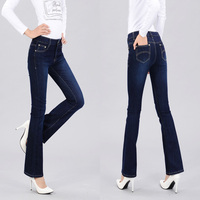 High Quality Promotion Women S Slim Mid Waist Boot Cut Jeans Fashion Bell Bottom Trousers Comfortable