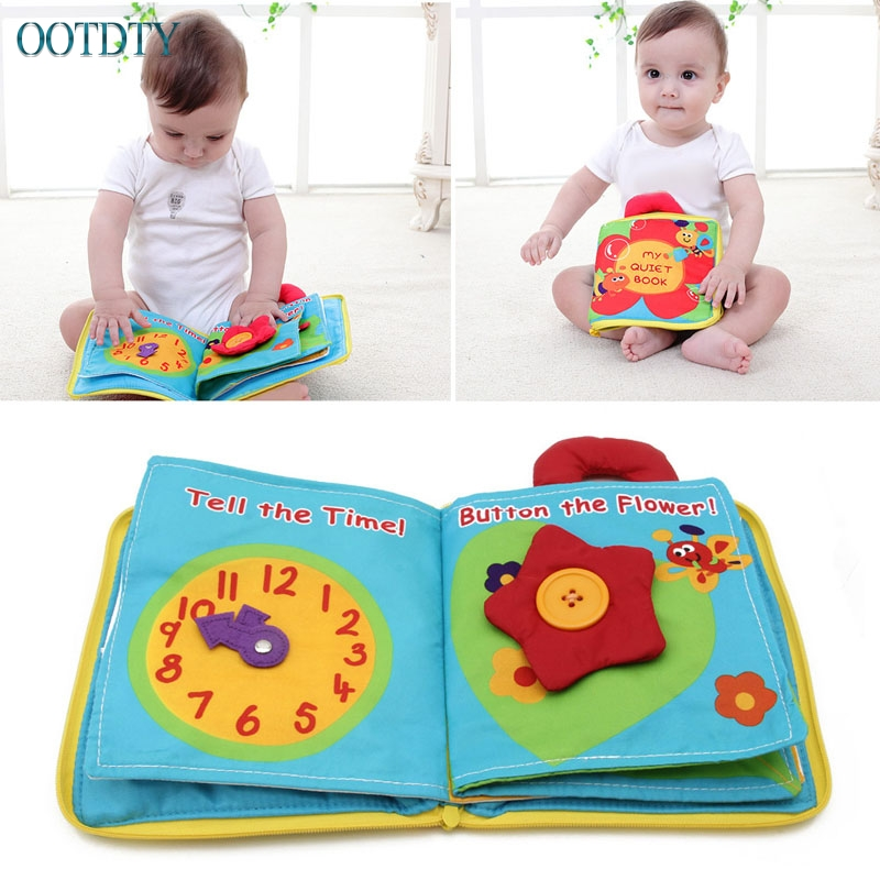 Hot Sale 12 Pages Cloth Book Baby Kids Intelligence Development Educational Learning Toy ...