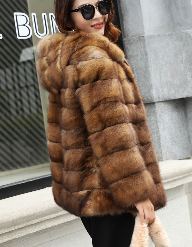 Fashion Style Real Sable Whole Mink Fur Women Slim Medium Coat With Hood Martes Zibellina Mink Fur Zipper Jacket Porpular Mink Fur Jackets & Coats