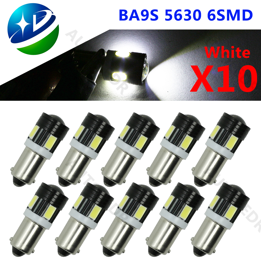 10pcs T4W 5730 6SMD BA9S Projector Car Interior White Side Tail Light T11 6 smd 5630 led AUTO PARKING lamp red blue yellow 12V 1x new update t10 led auto car light bulbs 5630 5730 smd 10 led w5w 12v interior parking projector lens white canbus dc 12v