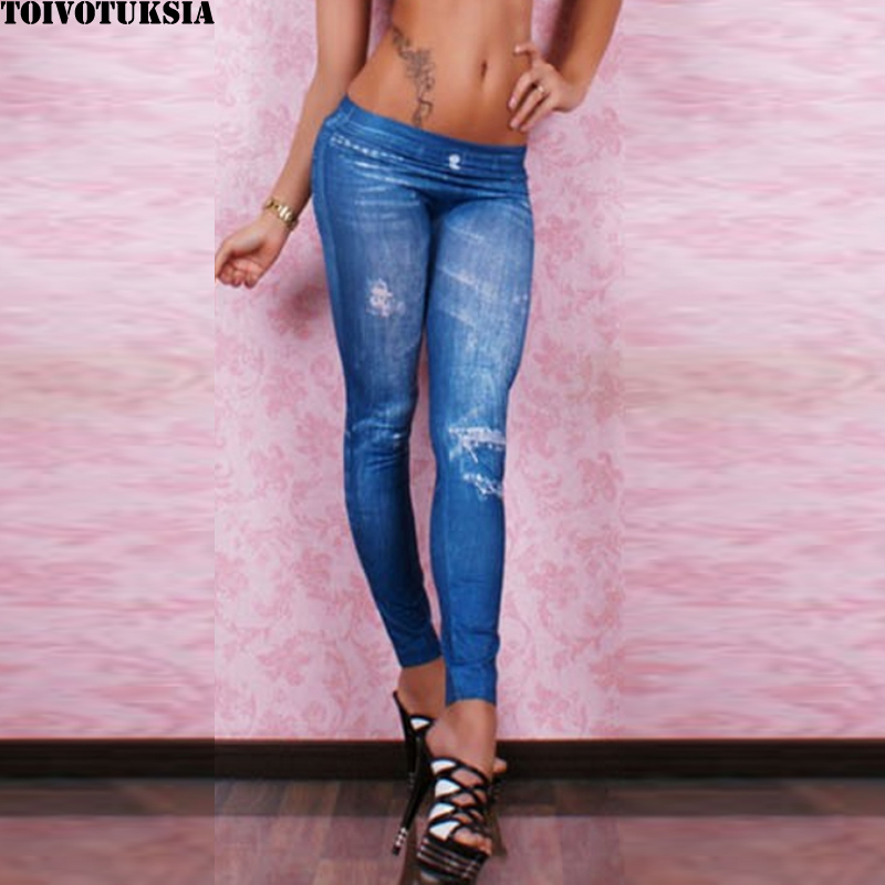 5508 Seamless Jeans Look with Diamonds on for Fitness Legging Fall Fashion Sexy Denim Pantalones